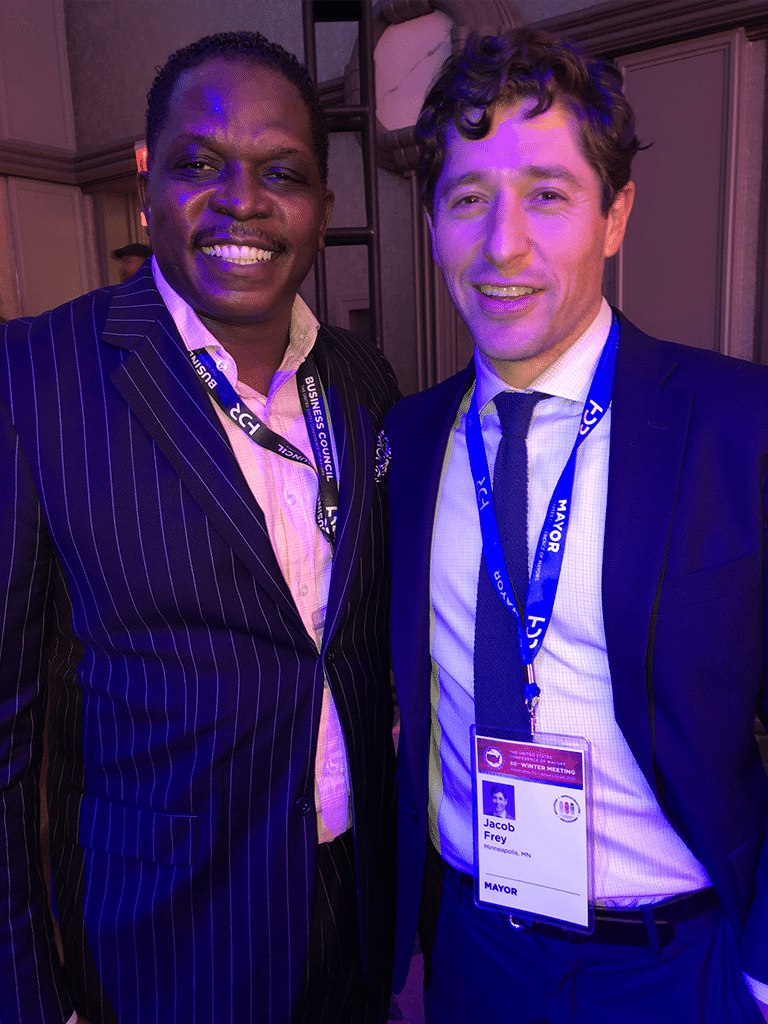 Darnell Sutton, CEO HWDC with Mayor Jacob Frey, Minneapolis, Minnesota about 5G Networks